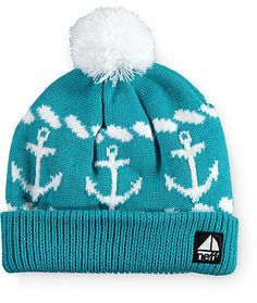 This teal colored pom beanie is made with a thick knit construction and an anchor design throughout for the perfect blend of cozy comfort and nautical inspired style.
