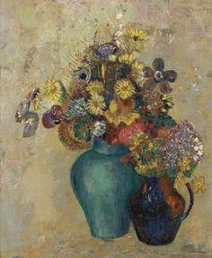 Deux Vases de Fleurs, 1905, Odilon Redon La-clef-des-cœurs