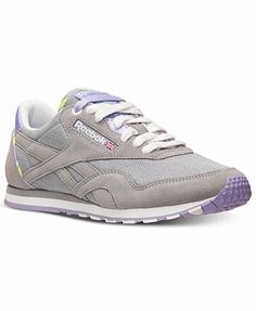 8d45282cf98388 Reebok Women s Classic Nylon Slim Jacquard Casual Sneakers from Finish Line  Rubber Shoes