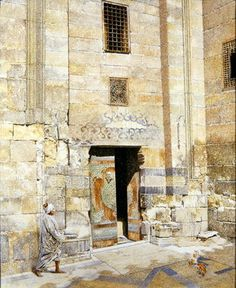 Doorway in Cairo, 1986 (oil on canvas) Postcards, Greetings Cards, Art Prints, Canvas, Framed Pictures, T-shirts & Wall Art by James Reeve