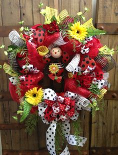 Ladybug decomesh wreath by WilliamsFloral on Etsy, $95.00