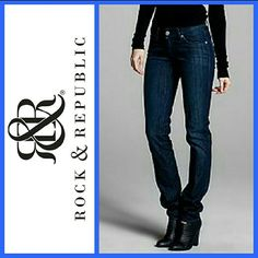 Rock & Republic Authentic 'Berlin' Skinny Jeans These size 32, Berlin Skinny-leg jeans are the perfect addition to your wardrobe. These are from Nordstroms. Originally priced at $168. Curve-hugging fit through the seat, thigh and leg openings for a flattering, trendy look. Whiskering, distressed and faded details give you the edge you're looking for in a dark indigo wash. Low rise with signature embroidered back pockets. 35 inch inseam. Premium denim, 98% cotton, 2% spandex. Rock & Republic…