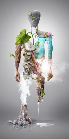 NatureMan - Digital illustration by Michael Tomaka, via Behance