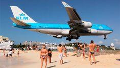 KLM 747-400 landing Maho Beach in St Maarten - Bing Images