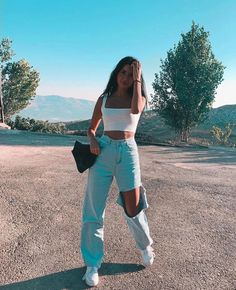 Cotton & sx fabric approx length high waist knee-ripped street / chic / casual style 1 pc for 1 pac available in color blue Teenage Outfits, Teen Fashion Outfits, Mode Outfits, Look Fashion, Retro Fashion, Fashion Vintage, Fashion Wear, Korean Fashion, Winter Fashion