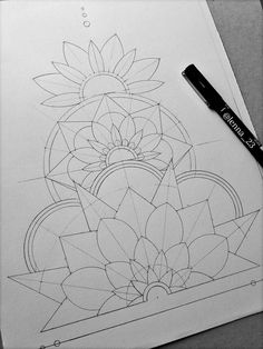 This Beginning of this Mandala and Floral Artwork is So Inspiring! — Jaye Janua… This Beginning of this Mandala and Floral Artwork is So Inspiring! Pencil Art Drawings, Art Drawings Sketches, Doodle Drawings, Tattoo Sketches, Doodle Sketch, Tattoo Drawings, Mandala Design, Doodle Art, Mandala Art Lesson