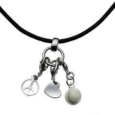 Peace, Love and Baseball necklace    ChalkTalkSPORTS.com