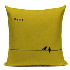 Fashion Yellow Color LOVE Bird Cushions Cover Heart Home Decor Linen Cotton Pillow Cover Decorative Throw Pillows Pillowcase Cushion Covers, Throw Pillow Covers, Throw Pillows, Love Birds, Accent Colors, Cushions, Yellow, Pattern, Prints