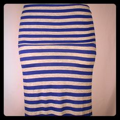 Blue / Gray Striped Maxi Striped Maxi skirt. 92% Rayon 8% Spandex  Please comment with size and I will create a separate listing. Hot Luxx Skirts Maxi