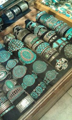 I love all of these. - - Vintage Turquoise + Silver cuffs (from the 1920's & 1930's) by Arione