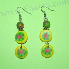 Colorful earrings handmade from polymer clay. Polymer Clay Earrings, Earrings Handmade, Colorful, Drop Earrings, Jewelry, Jewlery, Jewerly, Schmuck, Drop Earring