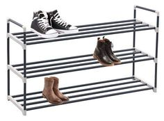 Buy shoe rack organizer storage bench stand for mens womens shoes closet with iron shelves that holds 15 pairs. Hot black shoe racks with three tiers metal shelf & easy assembly with no tools. Black Shoe Rack, Metal Shoe Rack, Shoe Racks, Utility Shelves, Shoe Shelves, Metal Shelves, Storage Shelves, Shoe Rack Organization, Shoe Organizer