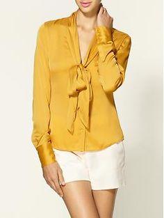 Natalie Plunge Tie Collar Silk Blouse by Rachel Zoe
