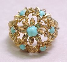 Vintage 18k Gold Ring Persian Turquoise Floral Domes Style