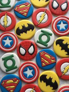 Assorted Superhero cookies One Dozen 12 Decorated Sugar Batman Cookies, Superhero Cookies, Superhero Cake, Superhero Treats, Lego Cookies, Avengers Birthday, Superhero Birthday Party, Iced Cookies, Cupcake Cookies