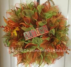 """This gorgeous Autumn wreath would look stunning on your front door to welcome in Autumn. It is made on a 12"""" wire frame and measures 20"""" across. This sign is S"""