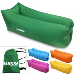 Inflatable Lounger Outdoor Sofa Inflatable Green Air Sofa Bed Beach Lounger New…