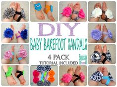 DIY Baby Barefoot Sandal Kit - Make your own - 4 Pairs - You Pick Your Colors, FREE TUTORIAL on Etsy, $16.75