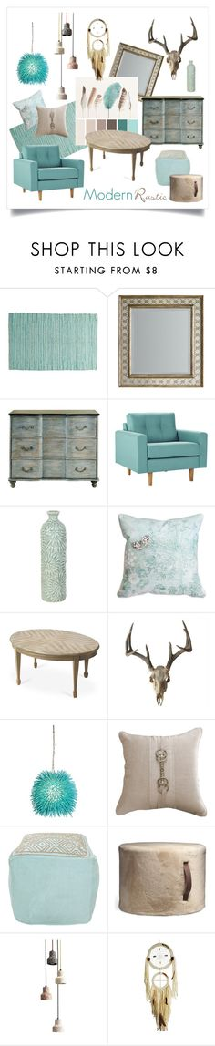 """""""Modern Rustic"""" by gangdise ❤ liked on Polyvore featuring interior, interiors, interior design, home, home decor, interior decorating, Hooker Furniture, Varaluz, Bandhini Homewear Design and Surya"""