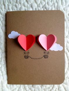 Card for lovers with two heart balloons; Simple and Romantic Valentine Carte