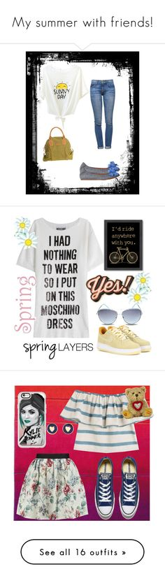 """""""My summer with friends!"""" by milenchik ❤ liked on Polyvore featuring Current/Elliott, Overland Sheepskin Co., Lanvin, Moschino, NIKE, Steve Madden, Americanflat, Anya Hindmarch, Dynamic Rugs and Mara Hoffman"""