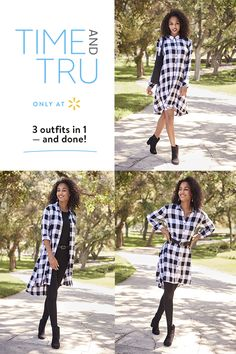 Create perfect autumn outfits with Time and Tru's Hi Lo Shirt Dress. With 3 ways to wear it, this versatile fashion piece works as a cardigan, a long belted shirt, or as a dress. Made from soft and comfortable plaid, it's a sure fall winner. Casual Outfits, Cute Outfits, Fashion Outfits, Fashion Trends, Fashion Clothes, Fashion Accessories, Fashion Tips, Fall Winter Outfits, Autumn Winter Fashion