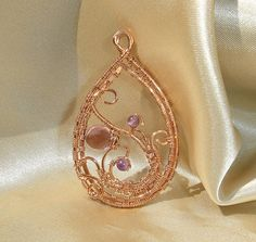 wire wrapped copper pendant with purple color faceted czech briolette and tiny amethyst stones Amethyst Stone, Wire Work, Wire Wrapped Jewelry, Wire Wrapping, Wraps, Stones, Copper, Hoop Earrings, Pendant