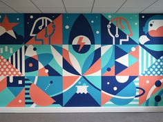 """Mural """"Innovation in technology"""" was made in the lunch room. We mixed a lot of different motives which are giving interesting geometrical concept. The main idea for this wall was to show green ener. Office Wall Design, Office Mural, Office Wall Art, Graffiti Art, Murals Street Art, Mural Wall Art, Mural Painting, Gouache Painting, Painting Canvas"""