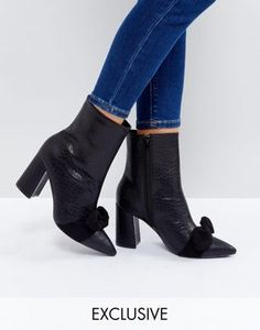 The March Black Snake Bow Detail Heeled Ankle Boots