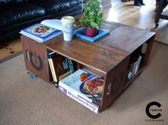 Crate Coffee Table by CraftyIsland on Etsy Wood Pallets, Pallet Wood, Handmade Wooden, Crates, Repurposed, Recycling, Rustic, Coffee, Creative