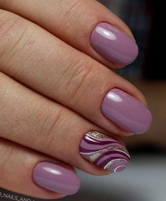 Magenta and lilac wave nails designs fashion Nowadays nail art is the latest fashion trend, therefore, girls should be aware of the latest nail . Lilac Nails, Purple Nail Art, Pink Purple, Purple Nails With Design, Lavender Nails, Fingernail Designs, Gel Nail Designs, Nails Design, Fun Nails