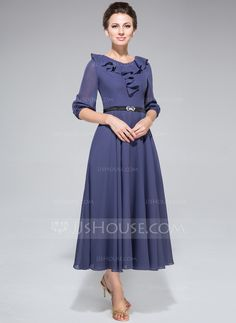 A-Line/Princess Scoop Neck Tea-Length Sash Cascading Ruffles Zipper Up at Side Sleeves 1/2 Sleeves No 2014 Other Colors Summer Fall General Plus Chiffon Mother of the Bride Dress