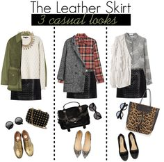 """""""1 Item - 3 Looks with leather skirt"""" by frutini on Polyvore"""