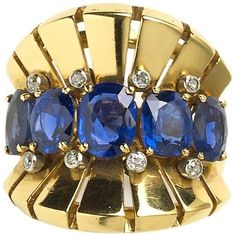 Preowned 1970s Van Cleef & Arpels Sapphire Diamond Gold Ring ($21,532) ❤ liked on Polyvore featuring jewelry, rings, blue, vintage rings, gold rings, yellow gold sapphire ring, yellow gold diamond ring and blue sapphire ring