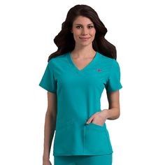 This classic V-neck scrub top is both elegant and practical with sporty side insets.