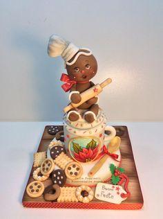 Christmas Themed Cake, Christmas Cake Designs, Christmas Cake Decorations, Christmas Cupcakes, Holiday Cakes, Christmas Treats, Christmas Baking, Fondant Cakes, Cupcake Cakes