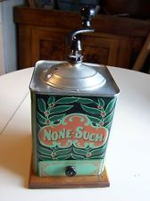 Antique Tin Litho Coffe Mill !!  C.1900 None-Such Tin Litho Coffee Grinder.