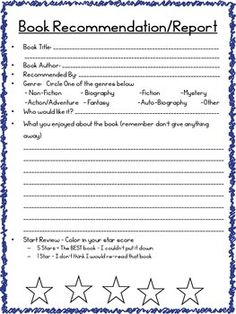 My co-teacher and I have created a binder withtabs for each month. Students are expected todo 2 book recommendation/reports permonth. Its an easy and ongoing way to assesshow they are doing, comprehension of whatthey are reading, genre choice, etc.