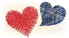 Cómo hacer corazones de hilo. How to make hearts thread