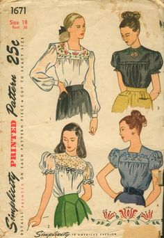 Vintage 1946 Simplicity 1671 Back Buttoned Embroidered Blouse Sewing Pattern Size 16 Bust by on Etsy Camisa Vintage, Blouse Vintage, Vintage Chanel, Fashion Sewing, Retro Fashion, Vintage Fashion, Fashion Fashion, Vintage Outfits, Vintage Dresses