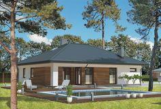 """""""Słoneczna polana"""" Murator M106 - zgrabny, zaprojektowany na planie prostokąta, projekt domu parterowego przeznaczony dla trzy- lub czteroosobowej rodziny."""
