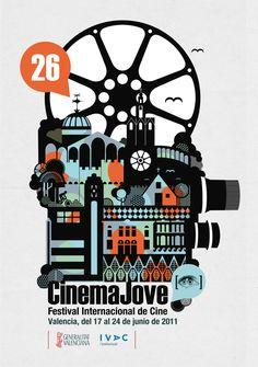 26th Festival Internacional de Cine. Cinema Jove by Casmic Lab , via Behance
