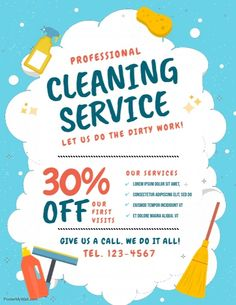 New Cleaning Service Flyer Design Business Cards 29 Ideas