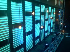 City/Club theme..corrugated plastic/roofing material with up-lights.