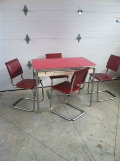 50\u0027s Retro Chrome Table That Extends w Drawer 4 Red Chairs Kitchen Dining Set | eBay & 4 Retro Chrome \u0026 Laminate KITCHEN CHAIRS Retro 1950s by Stoneville