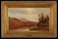 """Ausable Lake, Adirondack Mts.,"" George H. Smillie, 1868, oil on canvas, 11 x 18"", Adirondack Museum."
