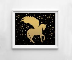 Unicorn print gold unicorn printable gold nursery by NeoArtBook