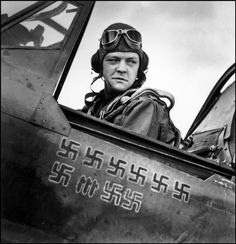 TUNISIA. 1943. The American fighter ace, Pilot LARDNER in the cockpit.