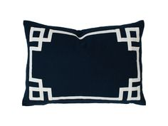*Navy Deco 20x20 - Estimated to be back in stock late September Linen Cotton 3/4 inch ribbon trim border Knife Edge Construction Zipper on bottom Insert not included