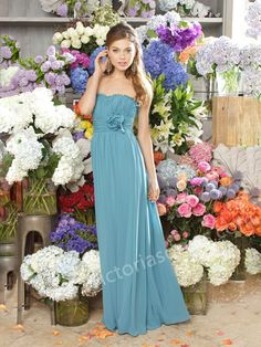 A-line Strapless Hand-Made Flower Bridesmaid Dresses